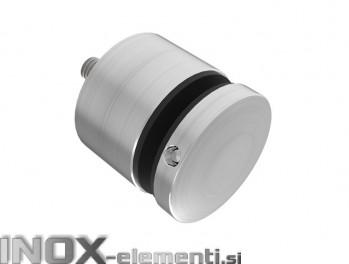INOX Nosilec stekla okrogel točkovni raven 50x50x10 / satiniran 0104S