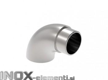 INOX Zaključni lok cevi 42,4, raven / satiniran