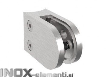 INOX Nosilec stekla 42.4 polkrožen / satiniran 45x63mm AISI304