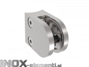 INOX Nosilec stekla 42.4 polkrožen / poliran 40x50mm